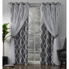 Load image into Gallery viewer, 2 Pack Alegra Layered Geometric Blackout and Sheer Grommet Top Curtain Panels - EK CHIC HOME
