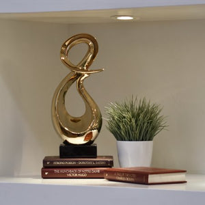 Ceramic Abstract Sculpture Polished Chrome Finish - EK CHIC HOME