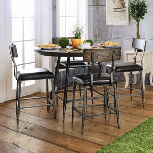 Industrial 5-Piece Counter Height Dining Set, Weathered Gray - EK CHIC HOME