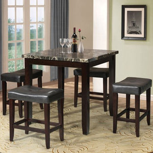 5-Piece Counter-Height Dining Set, Black Faux Marble and Espresso - EK CHIC HOME