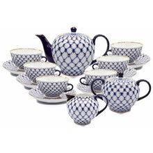 Load image into Gallery viewer, 23-pc HQ Dining Tea Cup Set, Russian Saint Petersburg Cobalt Blue Net - EK CHIC HOME