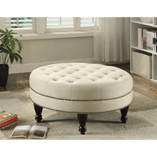 Load image into Gallery viewer, Oval Ottoman in Linen-Like Fabric - EK CHIC HOME