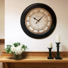 "Load image into Gallery viewer, Modern 28"" Black Traditional Wall Clock - EK CHIC HOME"