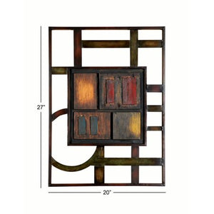 27 X 20 Inch Abstract Geometric Metal Wall Plaque - EK CHIC HOME