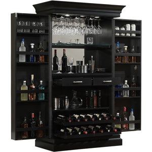Black Stain Home Bar Wine Wall/Cabinet - EK CHIC HOME