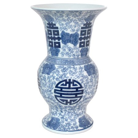 Three Hands 14.25 in. Blue and White Ceramic Vase - EK CHIC HOME