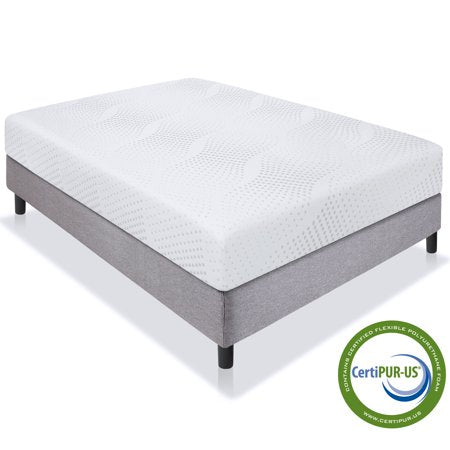 10in Queen Size Dual Layered Memory Foam Mattress w/ Open-Cell Cooling - EK CHIC HOME