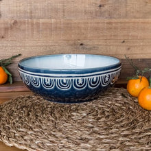 Load image into Gallery viewer, Teal Medallion Serve Bowl - EK CHIC HOME