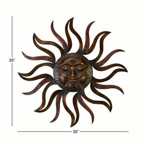 35 Inch Metal Celestial Sun Wall Decor - EK CHIC HOME