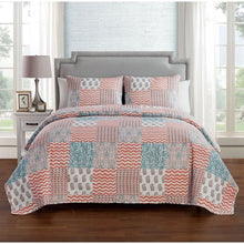 Load image into Gallery viewer, Peach 3 Piece Reversible Bedding Quilt Set, Shams Included - EK CHIC HOME