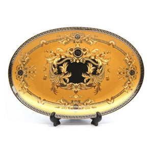 "Royalty Porcelain Yellow 9.5"" Fruit Serving Platter, Medusa Greek Key 24K Gold - EK CHIC HOME"