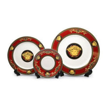 Load image into Gallery viewer, Royalty Porcelain Luxury 5-pc RED Dinner Set for 1 person, Medusa Greek Key - EK CHIC HOME