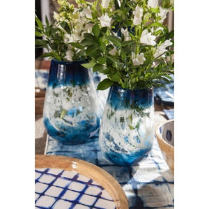 Set of 3 Indigo Blue and White Indoor Artisanal Glass - EK CHIC HOME