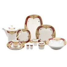 "Load image into Gallery viewer, Royalty Porcelain 49-pc ""Floral Red"" Banquet Dinnerware Set for 8, 24K Gold - EK CHIC HOME"