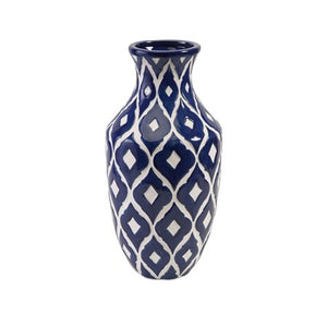 "17.75"" Marine Blue and Classic White Patterned Tall Clay Vase - EK CHIC HOME"