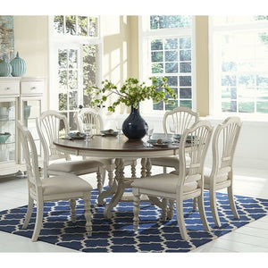 Pine Island 7-Piece Round Dining Set with Wheat Back Chairs - EK CHIC HOME