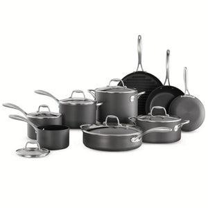 15-Piece Hard Anodized - Nonstick Cookware Set - EK CHIC HOME