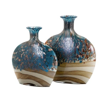 Set of 2 Stone Blue Handcrafted Glass Vases - EK CHIC HOME