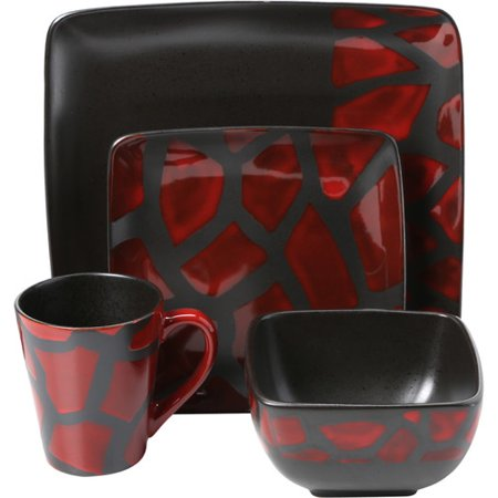 Safari Giraffe Red 16-Piece Dinnerware Set - EK CHIC HOME
