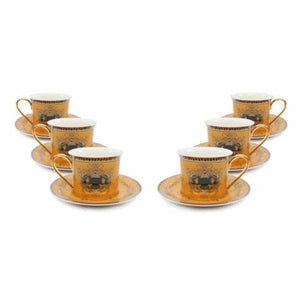 Royalty Porcelain 12-pc Gold Tea Set, Service for 6, Medusa Greek Key, 24K Gold - EK CHIC HOME