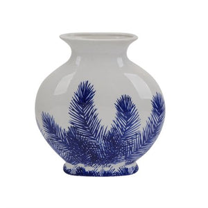 White and Blue Palm Vase - EK CHIC HOME