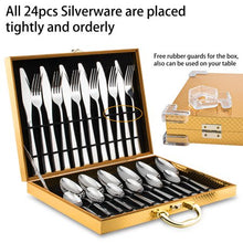 Load image into Gallery viewer, Silverware Set, 24 pcs Stainless Steel Silverware Sets Service for 6 with Luxury Gift Box - EK CHIC HOME