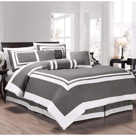 Caprice 7-Piece Square Pattern Hotel Style Comforter Set - EK CHIC HOME