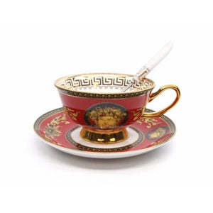 Royalty Porcelain Luxury 5-pc RED Dinner Set for 1 person, Medusa Greek Key - EK CHIC HOME