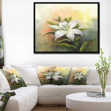 Load image into Gallery viewer, 'White Lily Flower Oil Painting' Large Framed Canvas Art Print - EK CHIC HOME
