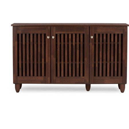 Fernanda Modern and Contemporary 3-Door Oak Brown Wooden Entryway Shoes Storage Wide Cabinet - EK CHIC HOME