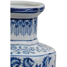 "Load image into Gallery viewer, 12"" Floral Blue & White Porcelain Vase - EK CHIC HOME"