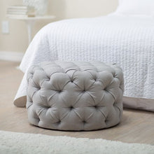 Load image into Gallery viewer, Round Tufted Ottoman - Grey - EK CHIC HOME
