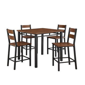 5-Piece Counter Height Dining Set, Vintage Oak - EK CHIC HOME