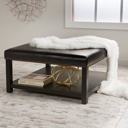 Brown Bonded Ottoman Coffee Table - EK CHIC HOME