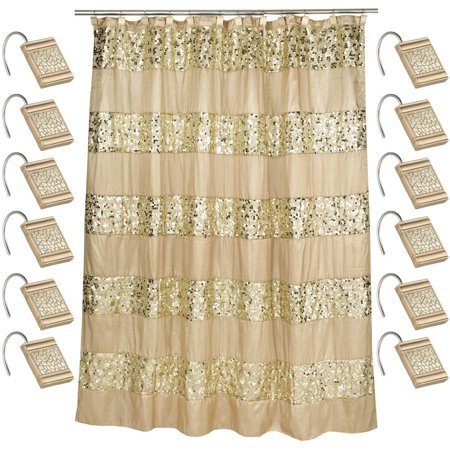 Champagne 70 x 72 Bathroom Fabric Shower Curtain & Hook Set - EK CHIC HOME