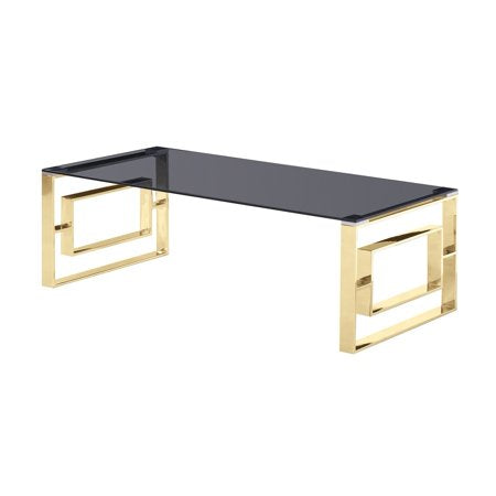 Smoked Glass Top with Gold Plated Frame Coffee Table - EK CHIC HOME