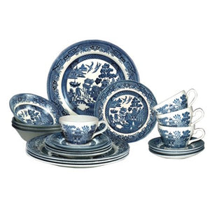 Willow Plates Bowls Cups 20 Piece Dinner Set - EK CHIC HOME