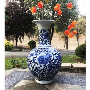 Classic Blue and White Porcelain Floral Decorative Vase - EK CHIC HOME
