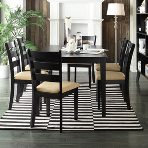 7-Piece Large Dining Set with 6 Ladder Back Chairs - EK CHIC HOME