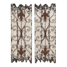 Load image into Gallery viewer, Rustic 32 Inch Wood and Metal Wall Decor - Set of 2 - EK CHIC HOME