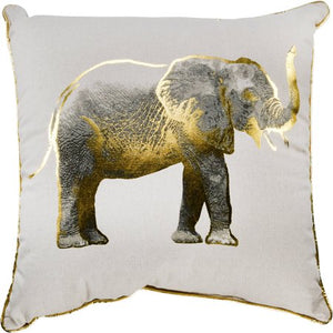 "Gold Elephant Decorative Throw Pillow, 18"" x 18"" - EK CHIC HOME"