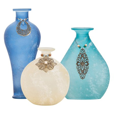Blue Adorned Vases - Set of 3 - EK CHIC HOME
