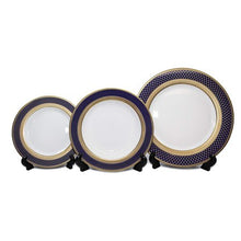 Load image into Gallery viewer, Royalty Porcelain 5pc Place Setting, Cobalt Navy Pattern, 24K Bone China Set - EK CHIC HOME