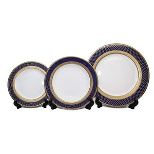 Royalty Porcelain 5pc Place Setting, Cobalt Navy Pattern, 24K Bone China Set - EK CHIC HOME