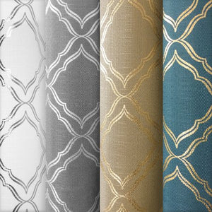Metallic Foil Trellis Curtain Panel - EK CHIC HOME
