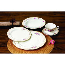 "Load image into Gallery viewer, Royalty Porcelain ""Ruby Rose"" 5-Piece White & Gold Floral Dinnerware Set, 24K Gold - EK CHIC HOME"