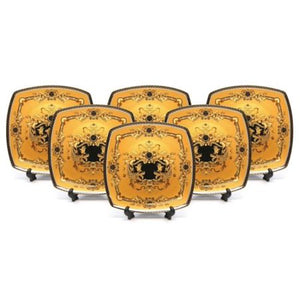 "Royalty Porcelain Yellow 10"" Dinner Plates, Medusa Greek Key 24K Gold, Set of 6 - EK CHIC HOME"