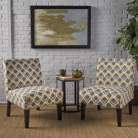 Fabric Slipper Accent Chairs, Set of 2, Yellow/Grey - EK CHIC HOME