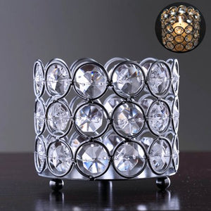 Silver Elegant Votive Tealight Crystal Candle Holder - EK CHIC HOME