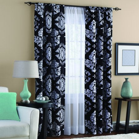 Classic Noir Polyester Curtain Panel, Set of 2 - EK CHIC HOME